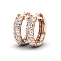 0.15 CTW Micro Pave Hoop VS/SI Diamond Earrings 10K Rose Gold - REF-26K2W - 22485
