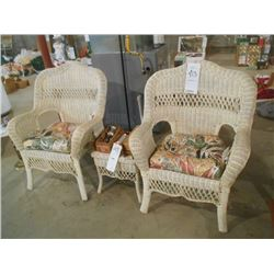 3pc White Wicker Patio Set