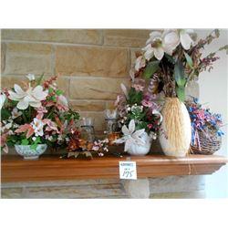 5 Assort Decorator  Silk Flowers w Holders LIKE NEW
