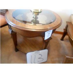 Oval Bevel Glass Walnut Lamp Table /Like New