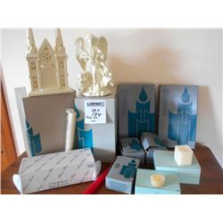 Jade Porcelain Angel and Church Lot /NEW