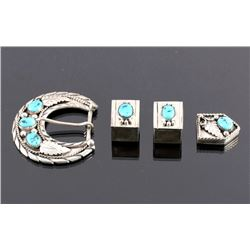 Navajo Sterling Silver Turquoise Ranger Buckle Set