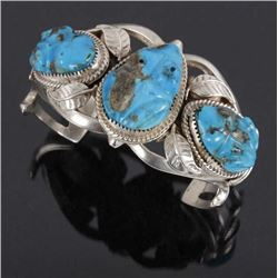 Navajo Sterling Cuff w/ Turquoise Frog Effigies