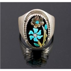 Signed Zuni Sterling Silver Flower Ring