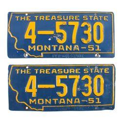 1951 Montana License Plate Pair