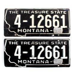 1954 Montana License Plate Pair