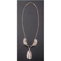 Navajo Silver Feather Motif Drop Pendant Necklace