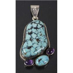 Navajo Dry-Creek Turquoise & Amethyst Pendant