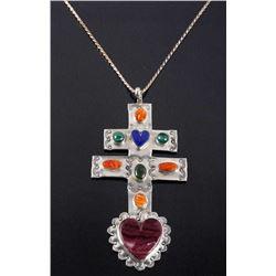 Navajo Multi-Stone Cross of Lorraine Trade Cross