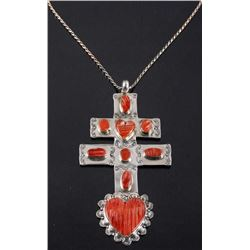 Navajo Spiny Oyster Cross of Lorraine Trade Cross