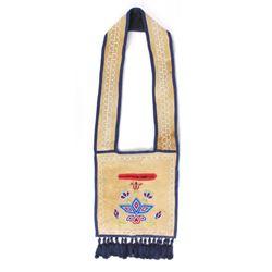 Ojibwa Native Indian Beaded Leather Bandolier Bag