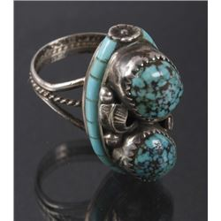 Navajo Nelson Burbank Lone Mountain Turquoise Ring