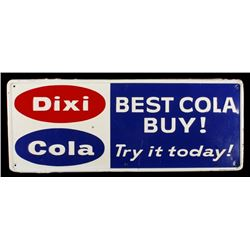Dixi Cola Embossed Tin Advertising Sign RARE