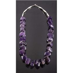 Navajo Faceted Amethyst & Silver Bead Necklace