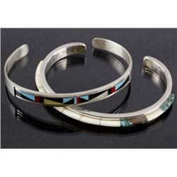 Pair of Zuni Multi-Stone & Sterling Silver Cuffs