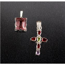 Two Sterling And Gemstone Pendants