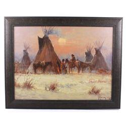 G. Harvey Framed Giclee Native Americans At Camp