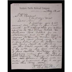 Northern Pacific Railroad - Norris MT Letter c1892
