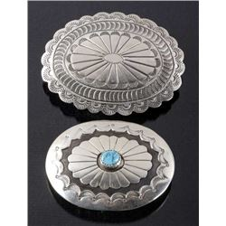 Two Navajo Engraved Sterling Silver Belt Buckles