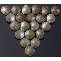Collection of 21 Buffalo Nickel Buttons