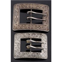 Two signed & Engraved Sterling Silver Belt Buckles
