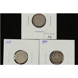 1910,17 & 19 CANADA SILVER 10 CENTS