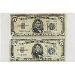 1934 & 1934-D $5 SILVER CERTIFICATES BLUE SEALS