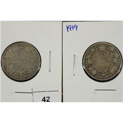 1917 & 1919 CANADA SILVER 25 CENTS