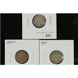 1941-C,43-C & 45 NEWFOUNDLAND SILVER 10 CENTS