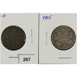 1902-H & 1905 CANADA SILVER 25 CENTS