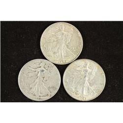 1942-S,43 & 45 WALKING LIBERTY HALF DOLLARS