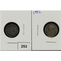 1891 & 1982 CANADA SILVER 5 CENTS