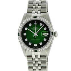 Rolex Stainless Steel 1.00 ctw Diamond and Emerald DateJust Men's Watch