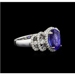 18KT White Gold 2.15 ctw Tanzanite and Diamond Ring