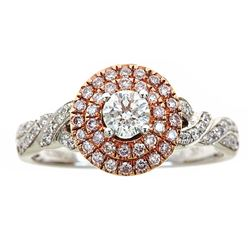 0.75 ctw Diamond Ring - 14KT White and Rose Gold