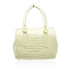 Nancy Gonzalez Yellow Crocodile Top Handle Handbag