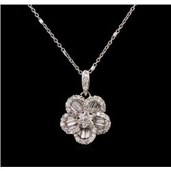 0.70 ctw Diamond Pendant With Chain - 18KT White Gold