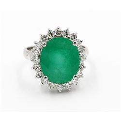 Certified 6.91 Carat Natural Oval Cut Emerald Diamond Wedding Engagement Ring in