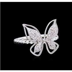 0.27 ctw Diamond Butterfly Ring - 14KT White Gold