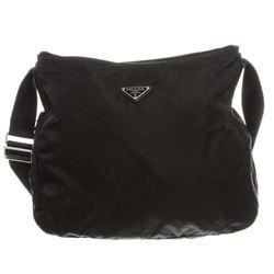 Prada Black Nylon Zip Top Shoulder Bag