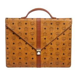 MCM Brown Visetos Coated Canvas Vintage Briefcase