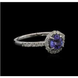 0.82 ctw Tanzanite and Diamond Ring - 18KT White Gold