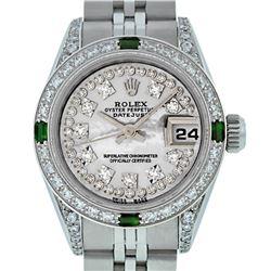 Rolex Ladies SS MOP Diamond Lugs And Emerald Datejust Wriswatch