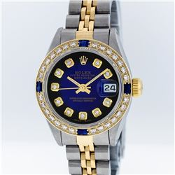 Rolex Two-Tone Blue Vignette Diamond and Sapphire DateJust Ladies Watch