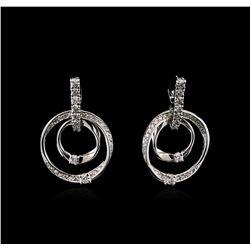 1.46 ctw Diamond Earrings - 14KT White Gold