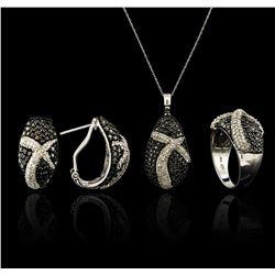 5.45 ctw Black Diamond Pendant and Earrings Set - 14KT White Gold