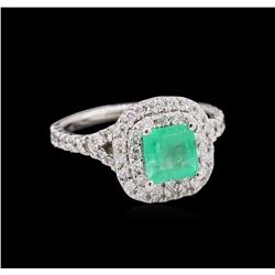 0.92 ctw Emerald and Diamond Ring - 14KT White Gold
