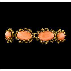 25.55 ctw Coral Bracelet - 10KT Yellow Gold