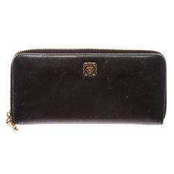 Loewe Black Leather Zip Around Long Wallet