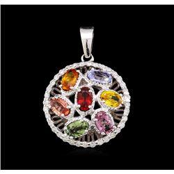 3.80 ctw Multi-Color Sapphire and Diamond Pendant - 14KT White Gold
